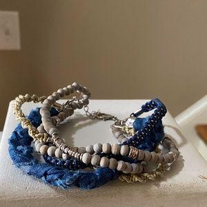 Anthropologie Blue Beaded Bracelet
